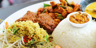 Nasi Padang - Padang Rice or Vegetarian - Classic West Sumateran mixed steam rice topped with beef rendang, spicy egg, tofu and urap vegetable+ grated coconut (or vegetarian)